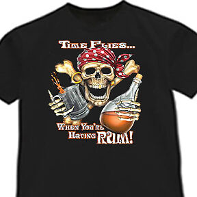 Time flies when you/'re having rum funny pirate T-shirt