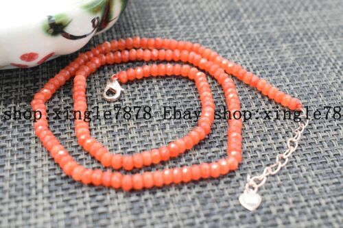 """Fine Beautiful 2x4mm Orange Jade Faceted Roundel Gems Beads Necklace 20/"""" AAA++"""