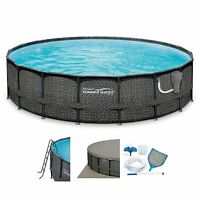 Summer Waves Elite Wicker Print 18' X 48 Above Ground Frame Pool Set With Pump on sale