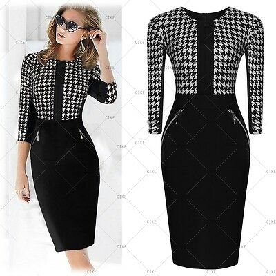 New Women's Vintage Tunic Cocktail Party Dress Formal Business Work Pencil Dress