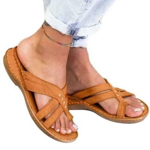Damen Flache Sandalen Flip Flops Strandschuhe Slippers Licht Bequem Sandaletten