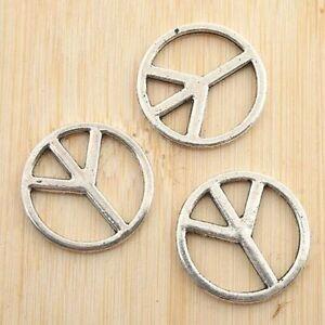 20pcs antiqued silver peace sign charm G1214