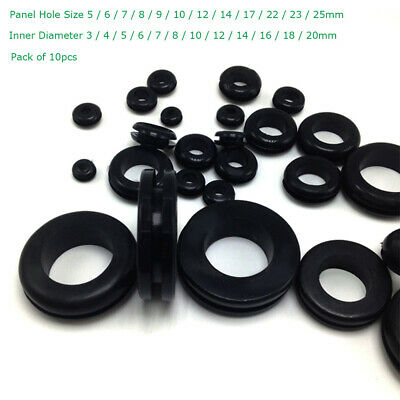 50 Pcs Black 16mm x 10mm Double Sides Rubber Wiring Grommets Cable Protector
