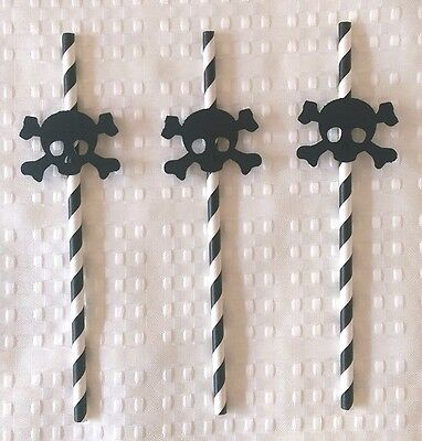 20 Black Stripped Paper Straw Skull and Crossbone Pirate Halloween Decoration