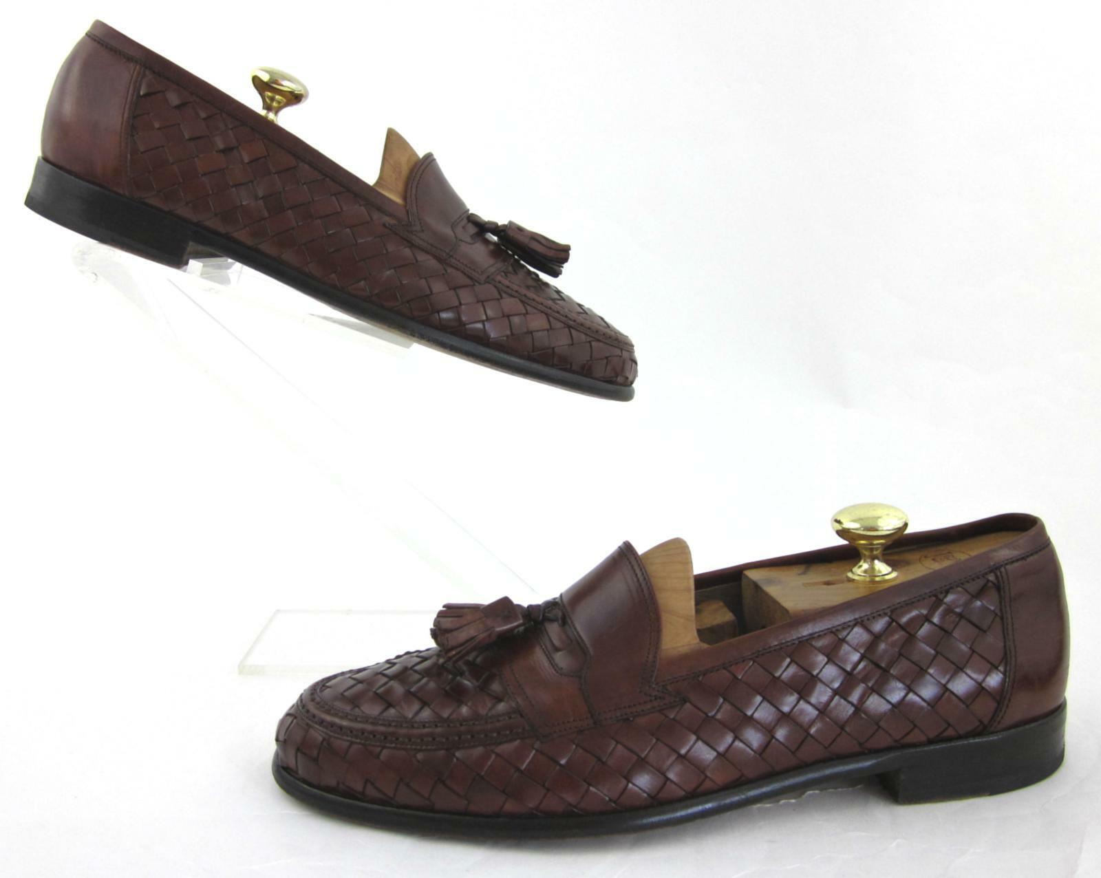 Bruno Magli Woven Leather Tassel Lofers Chestnut  US 10D Fits US 9.5D -10D  classico senza tempo
