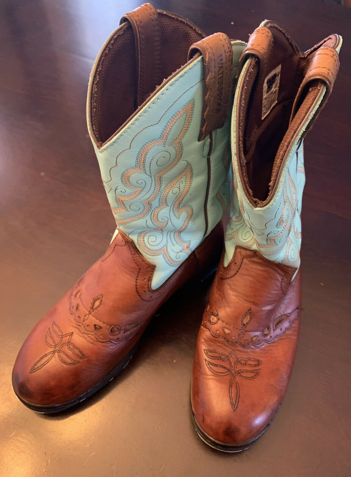 Justin Gypsy Cowboy Boots 7.5W Teal Brown Leather Short Western Hippie #19034