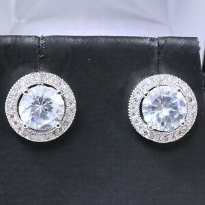 Sparkling-Round-Cubic-Zirconia-Earring-Stud-Women-Jewelry-14K-White-Gold-Plated