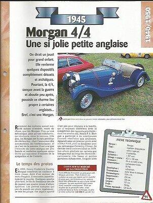 Intelligente Voiture Morgan 4/4 Deux Places Fiche Technique Auto 1945 Collection Car