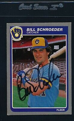 BILL SCHROEDER MILWAUKEE BREWERS 1985 FLEER AUTOGRAPHED  BASEBALL CARD PSA//DNA