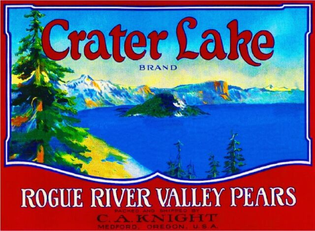 Medford Oregon Crater Lake Pear Fruit Crate Box Label Art Print