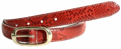 Womens Snake Skin Red Contrast Stitched Gold Oval Buckle Genuine Leather Belts
