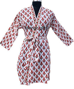 4ed24d4e62 Indian Block Print 100% Cotton Tunic Kimono Beach Cover-up Coat ...