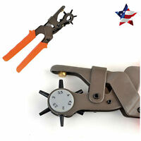 6 Sized Heavy Duty Leather Hole Punch Pliers Hand Tool Belt Holes Punches