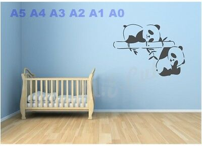 Baby Panda's Stencil Child's Room Wall-cards-picture A5 A4 A3 A2 A1 A0 #teds022