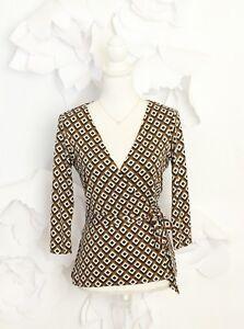 Diane-von-Furstenberg-DVF-Wrap-Blouse-Top-Women-039-s-6-Silk-Brown-039-Brittany-039-Career