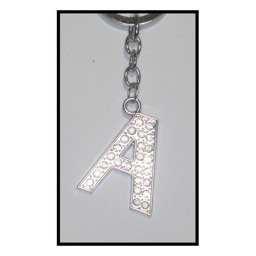 "Diamante Bling Fashion ""A"" Alphabet Letter Name Initial Keyring Key Chain Ring"