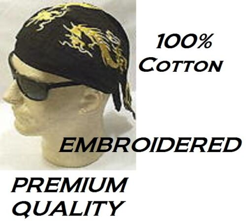 GOLD DRAGON Serpant Tribal EMBROIDERED FITTED TIE BANDANA Skull Cap DO DOO RAG