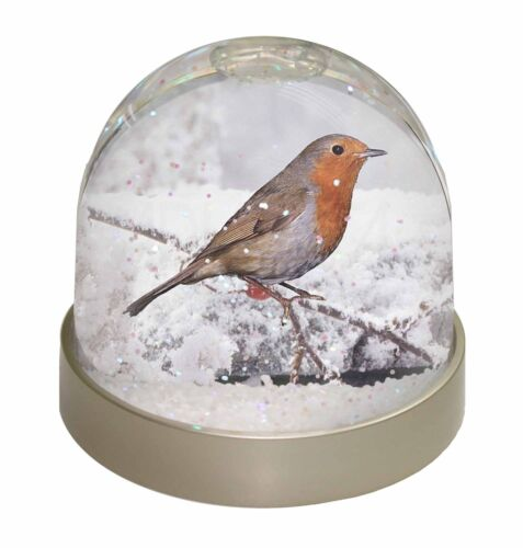 AB-R22GL Winter Robin on Snow Branch Photo Snow Globe Waterball Stocking Filler