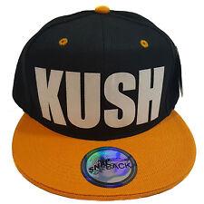 KUSH(Keep Us So High) Flock Black/Yellow Snapback Hat Cap
