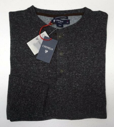 Orig $150 Cremieux Charcoal Gray Cotton Cashmere Blend Henley Sweater Mens