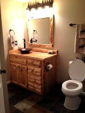 Custom Rustic Cedar Wood Log Cabin Lodge Bathroom Vanity Cabinet 36 INCH