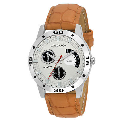 LOIS CARON LCS-4183 ANALOG WRIST WATCHES FOR MENS SYNTHETIC LEATHER