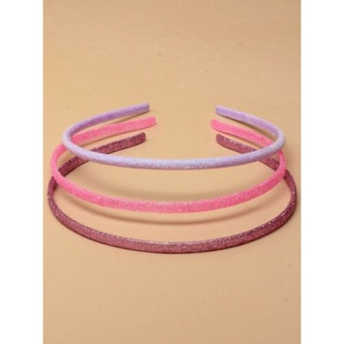 3 Slim Narrow Plastic glitter Alice Bands Headbands Hair Band pinks and purples