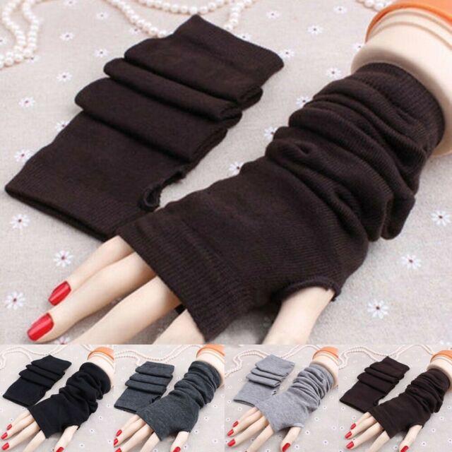 Damen Handstulpen Fingerlose Handschuhe Gestrickt Stricken Pulswärmer Armstulpen