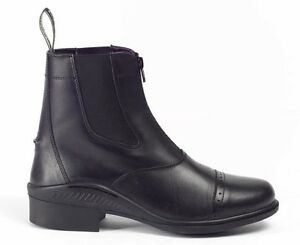Brogini-Tivoli-Leather-Front-Zip-Paddock-Jodhpur-Short-Riding-Boots-Black-Brown