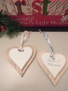 image is loading baby 039 s first christmas wooden hanging heart