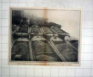 1912-3-4-Mile-Of-Barges-With-Coal-For-Metropolitan-Gasworks-Vauxhall