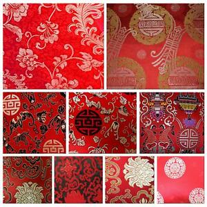 Faux Silk Brocade(Red Background)Jacquard Damask Kimono Fabric Material BL22-BY