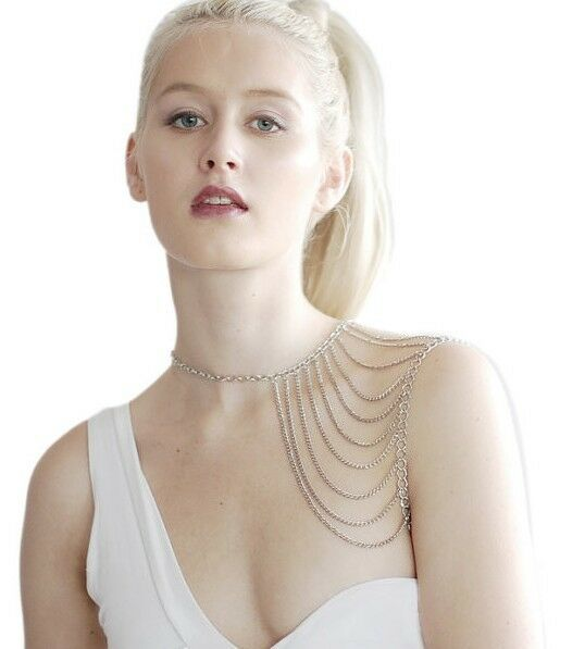 Fashion Punk Jewelry Silver Tone Multi Tassel Chain Shoulder Necklace Body Chain