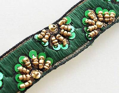 Gold Beads on Green Embroidered Trim Old World Artistry. Narrow Hand Beaded Trim