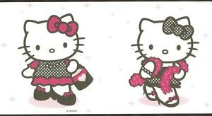 Wallpaper-Border-Hello-Kitty-Dress-Up-Black-White-and-Pink