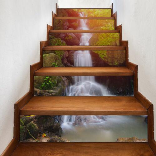 6Pcs 3D Stair Stickers DIY Steps Wall Decals Mural Wallpaper Vinyl Home Decor