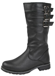 0174048dc2c Girls Knee High Biker Riding Boots Kids Winter Faux Leather Buckle ...