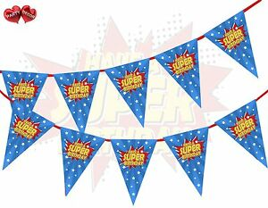 Happy-Birthday-Super-Hero-Style-Blue-amp-Red-Theme-Bunting-Banner-party-decoration