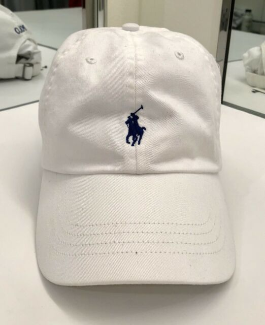 63c5412f40a896 Polo Ralph Lauren Men's Chino Sports Cap Cotton One Size White w/Navy Pony  $40