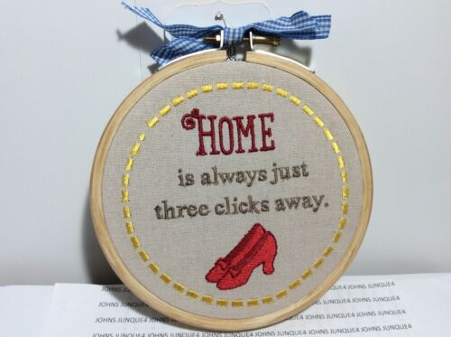 HOME IS ALWAYS JUST THREE CLICKS AWAY HALLMARK CLOTH PLAQUE WIZARD OF OZ NEW!