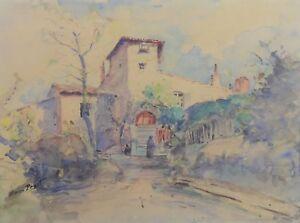 Henri-Prost-1876-1940-Landscape-Animated-Watercolour-School-de-Lyon-Dombes