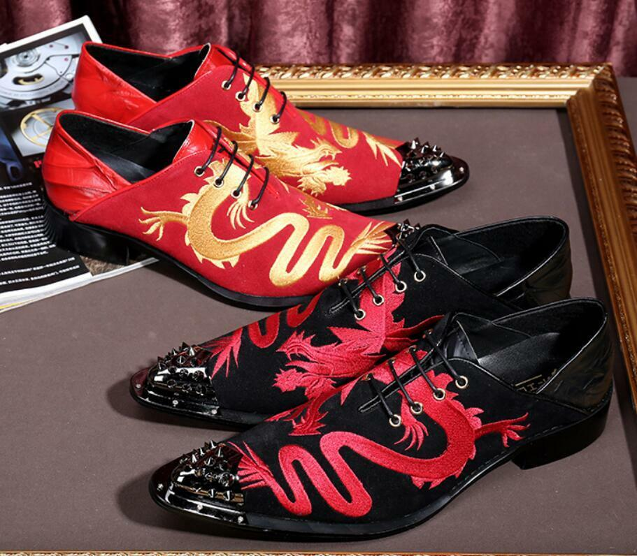 Hot Fashion Uomo's Metal Pointed Toe Spike Lace Up Pelle dragon British Scarpe