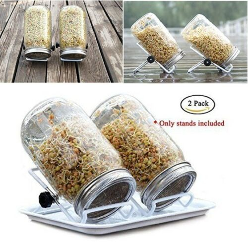 2Pcs Stainless Steel Sprouting Stands Non-slip Scaffolds for Mason Jars iPad New