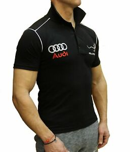 Handmade-T-shirt-Audi-Quattro-EMBROIDERED-COLLAR-Combed-Cotton-Polo-Embroidery