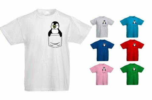 Kids Childrens Penguin Cute Animal Pocket Print T-shirt 5-13 Years