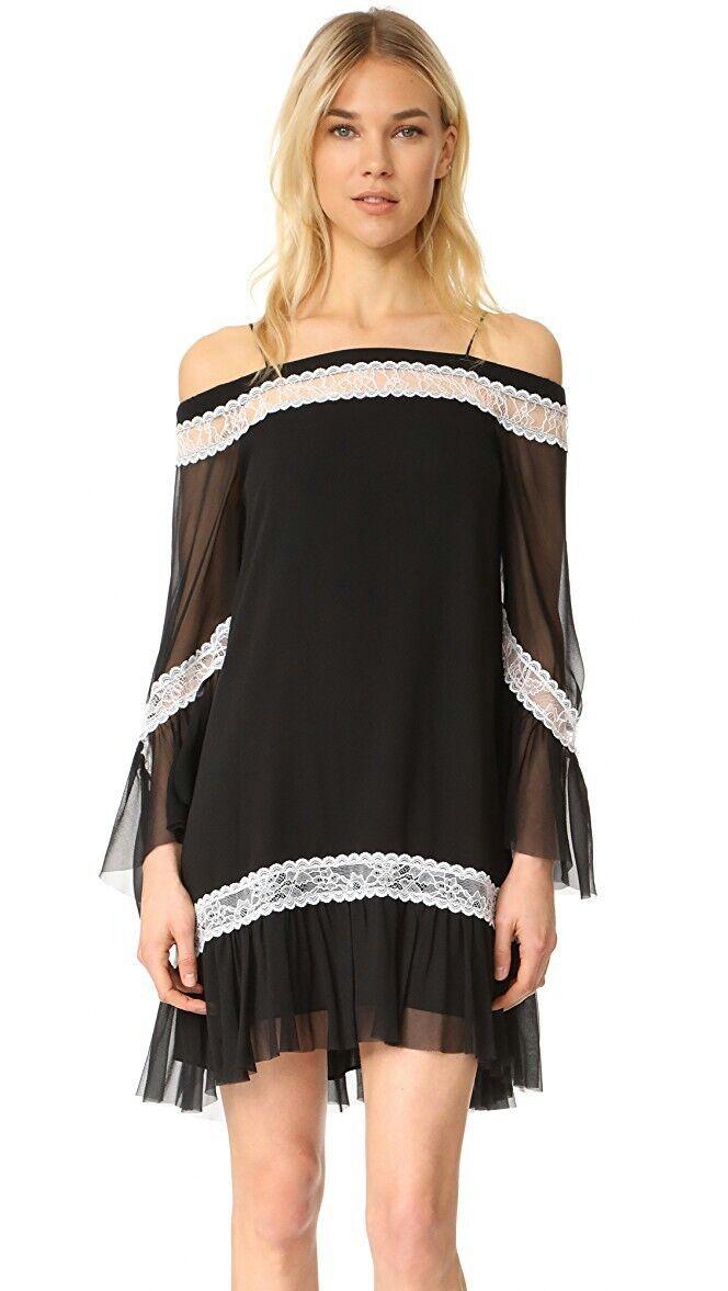 Alice Olivia Wllie  Campana de hombro frío + Manga Vestido Negro  465 Talla 6 Nuevo sin etiquetas  marca de lujo