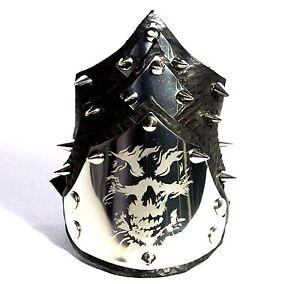 Skull-black-Leather-Cuff-Bracelet-Wristband-Stud-Steampunk-Gothic-Handmade-UK