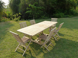 Salon de jardin avec table rectangle AMARA avec 6 chaises pliantes ...