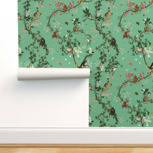 Removable Water-Activated Wallpaper Monkey Chinoiserie Jungle Floral Tree Green