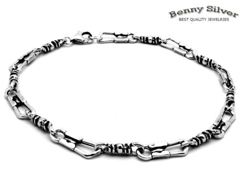 925 Sterling Silver Antique Finish Oxidize Fisherman Link Bracelet 8.5 inches
